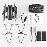 LU6 Foldable RC Drone with 1080P HD Dual Camera FPV RC Helicopter Aircraft Optical Flow Smart Follow Remote Control Toys-Black 2 Batteries