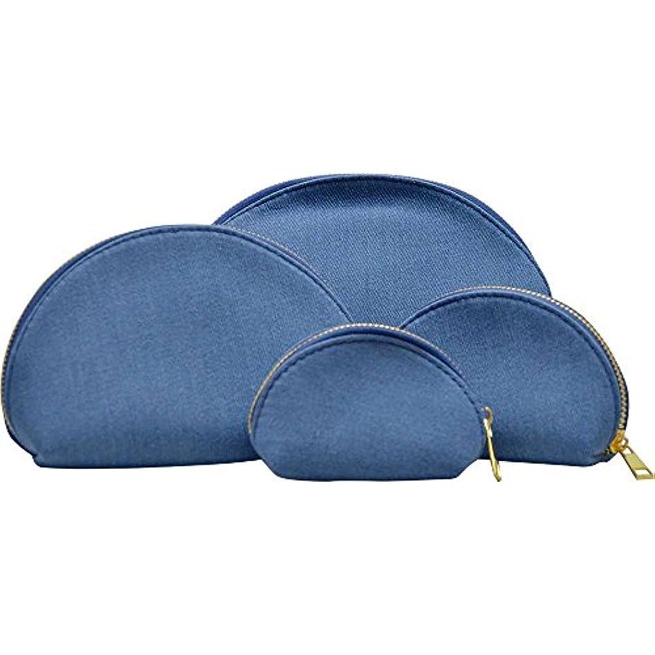 ツールレンダリング主張する豪華4点セット デニム コスメポーチ 小物ポーチ 小さい 極小 大きい 4サイズ デニムデザイン バッグINバッグ ラウンド 化粧ポーチ (ブルー)