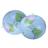 LIOOBO 2ピースビーチボールインフレータブル弾性Pvc地球地図パターン水球用大人子供スイミングプール海夏のビーチおもちゃ16インチ