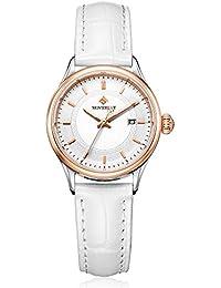 MOVEBEST 腕時計 女性用 ファッション 人気 レディース ホワイト 可愛い 革バンド 時計 夜光 クオーツ (M32315)