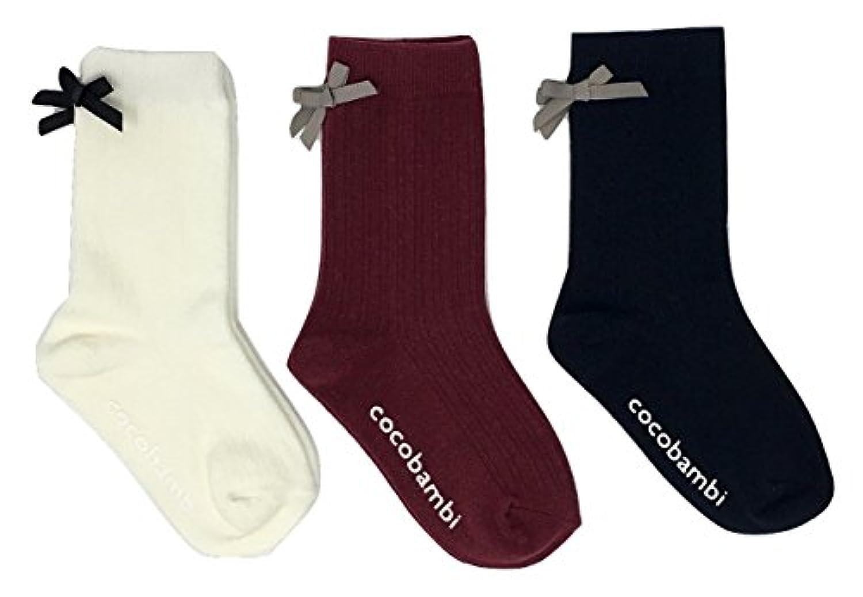3足組子供靴下クルー丈 リボン付き 15cm - 20cm スベリ止め付
