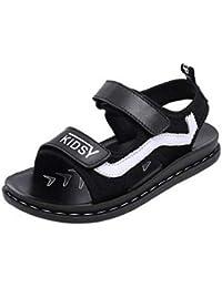 COMVIP キッズシューズ カジュアル 子供 柔らかい サンダル シンプル ビーチ用靴 滑り止め 通気 軽量 プレゼント 通学 普段 夏用 ブラック