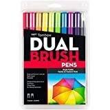 Tombow 56185 Dual Brush Pen Art Markers, Bright, 10-Pack