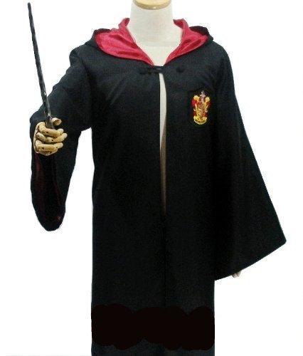 ハリーポッター ローブ + 眼鏡 + ネクタイ + 魔法の杖 4点フルセット コスチューム 男女共用 XL グリフィンドール 赤