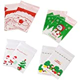 YeahiBaby 400pcs Self-Adhesive Cookies Bags Christmas Theme Plastic Candy Sweets Biscuits Bakery Bags Jewelry Storage Bags
