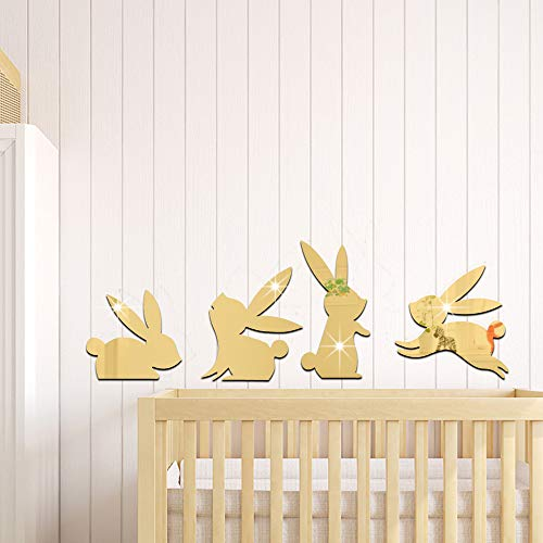 Wall Decor Mirror Stickers Mirror Babes Kids Bedroom Bunnies Gold