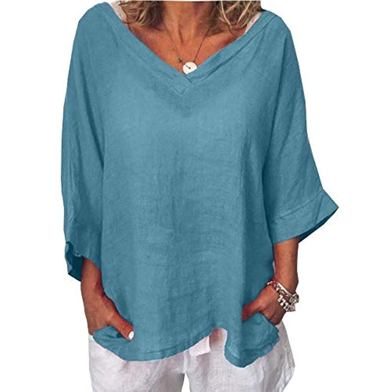 最大化する自発的マークされたMIFAN女性ファッションカジュアルVネックトップス無地長袖Tシャツルーズボヘミアンビーチウェア