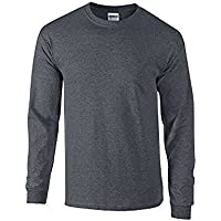 Gildan Mens Plain Crew Neck Ultra Cotton Long Sleeve T-Shirt