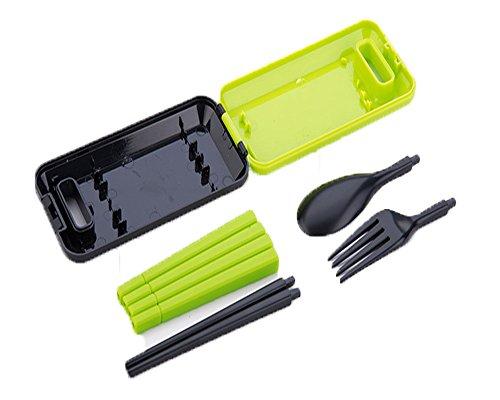 ケース付組み立て式おはし3点セットMK1106 MY箸 マイ箸 myはし 衛生的エコ箸 携帯箸 スプーン フォーク 旅行用品 旅行グッズ プレゼント 環境保護 地球に優しい (GREEN)