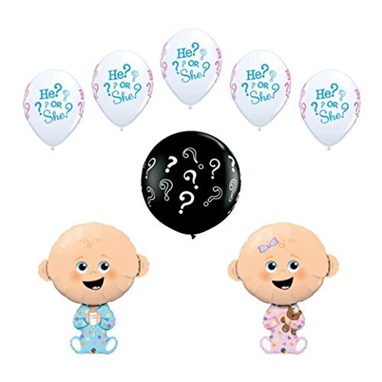 8 pc Gender Reveal Party Baby Shower Balloon Decoration Kit includes a 36 Inch Black ? Latex Reveal Balloon by Qualatex
