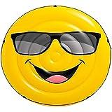 膨脹可能な微笑の浮遊列、大人の子供の水遊びの浮遊ベッドサーフ水ラウンジチェア水泳リングマウント黄色 (Color : Yellow, Size : 173x27CM)