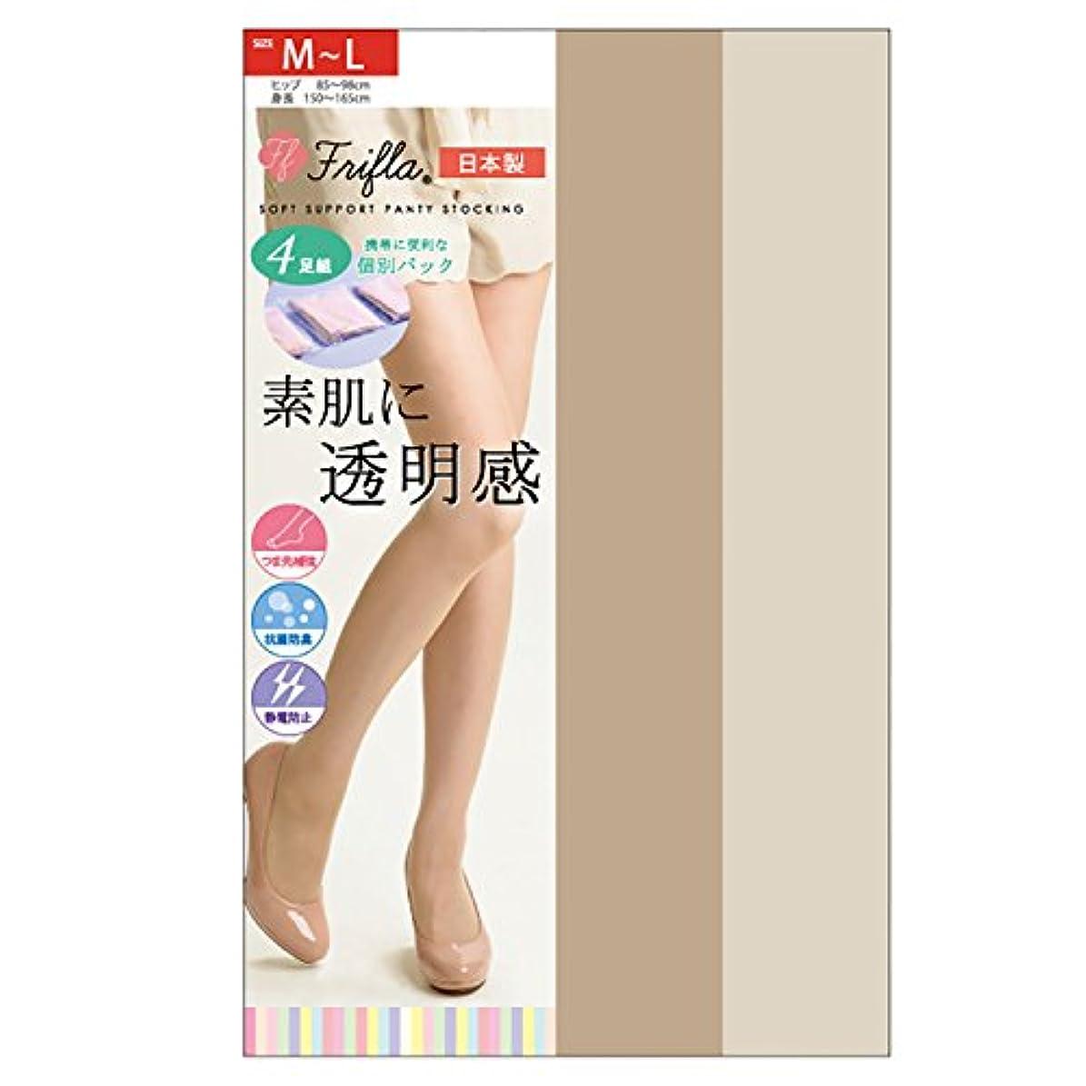 同盟きらきら中国素肌に透明感 ソフトサポートタイプ 交編ストッキング 4足組 日本製-素肌感 個包装 抗菌防臭 静電気防止 M-L L-LL パンスト (M-L, ピュアベージュ)