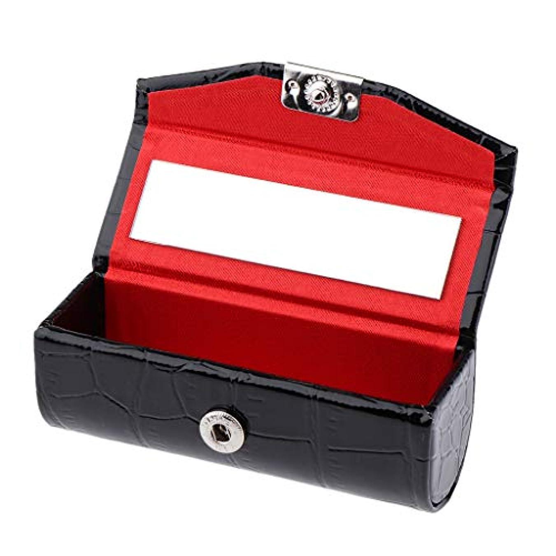 せっかち順応性のあるスマートB Baosity 口紅ケース コインケース ミラー付き リップグロス ジュエリー 収納ボックス 多色選べ - ブラック