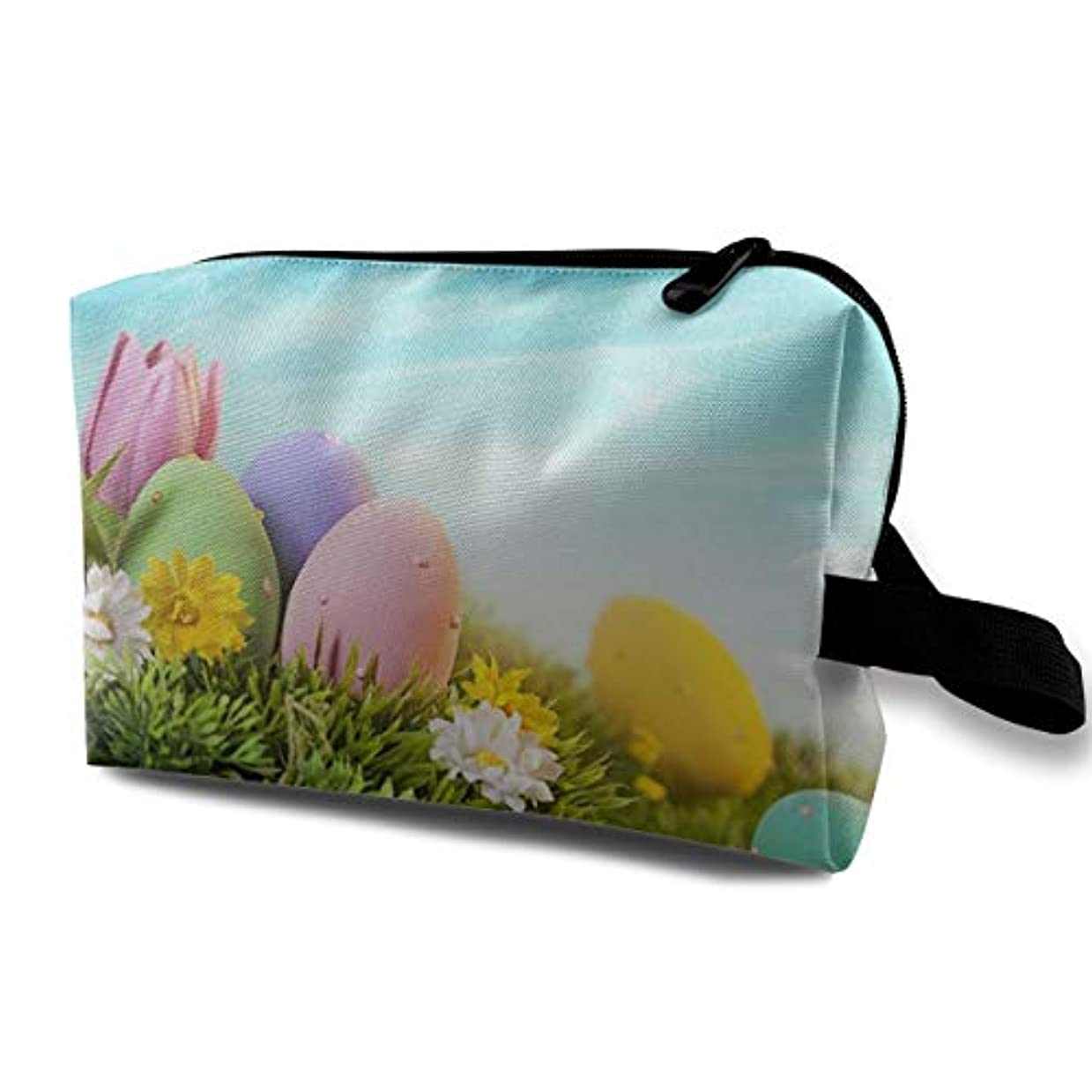 デッキそれからインカ帝国Green Grass Eggs Wrinkle 収納ポーチ 化粧ポーチ 大容量 軽量 耐久性 ハンドル付持ち運び便利。入れ 自宅?出張?旅行?アウトドア撮影などに対応。メンズ レディース トラベルグッズ