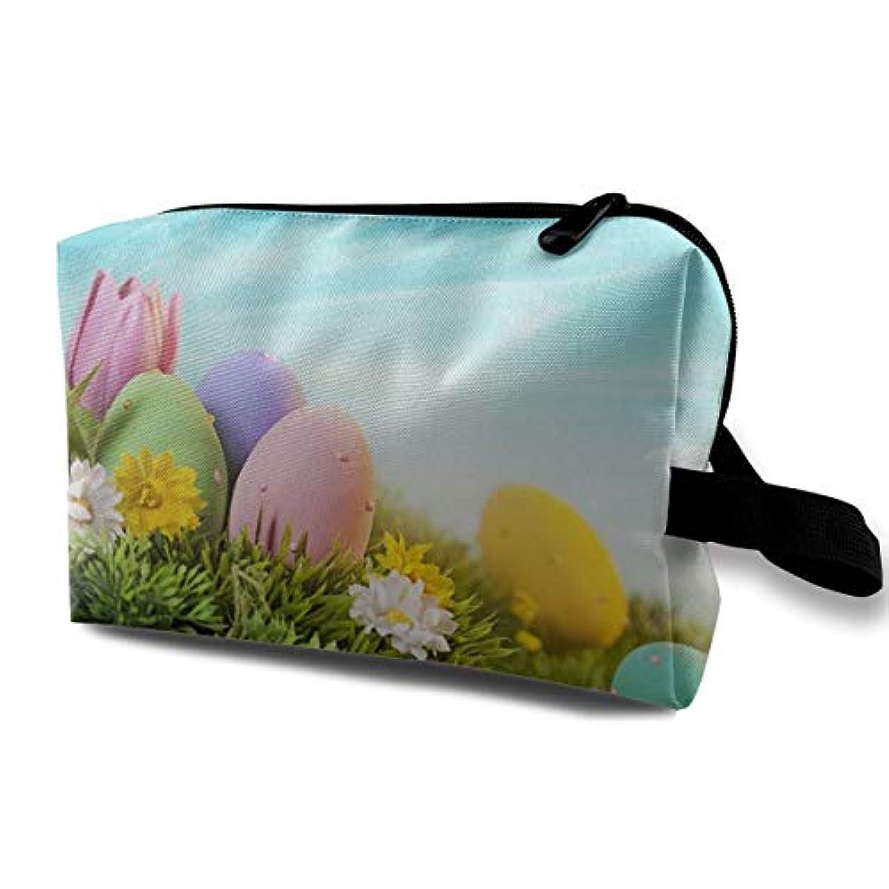 取り除く表現悲鳴Green Grass Eggs Wrinkle 収納ポーチ 化粧ポーチ 大容量 軽量 耐久性 ハンドル付持ち運び便利。入れ 自宅?出張?旅行?アウトドア撮影などに対応。メンズ レディース トラベルグッズ