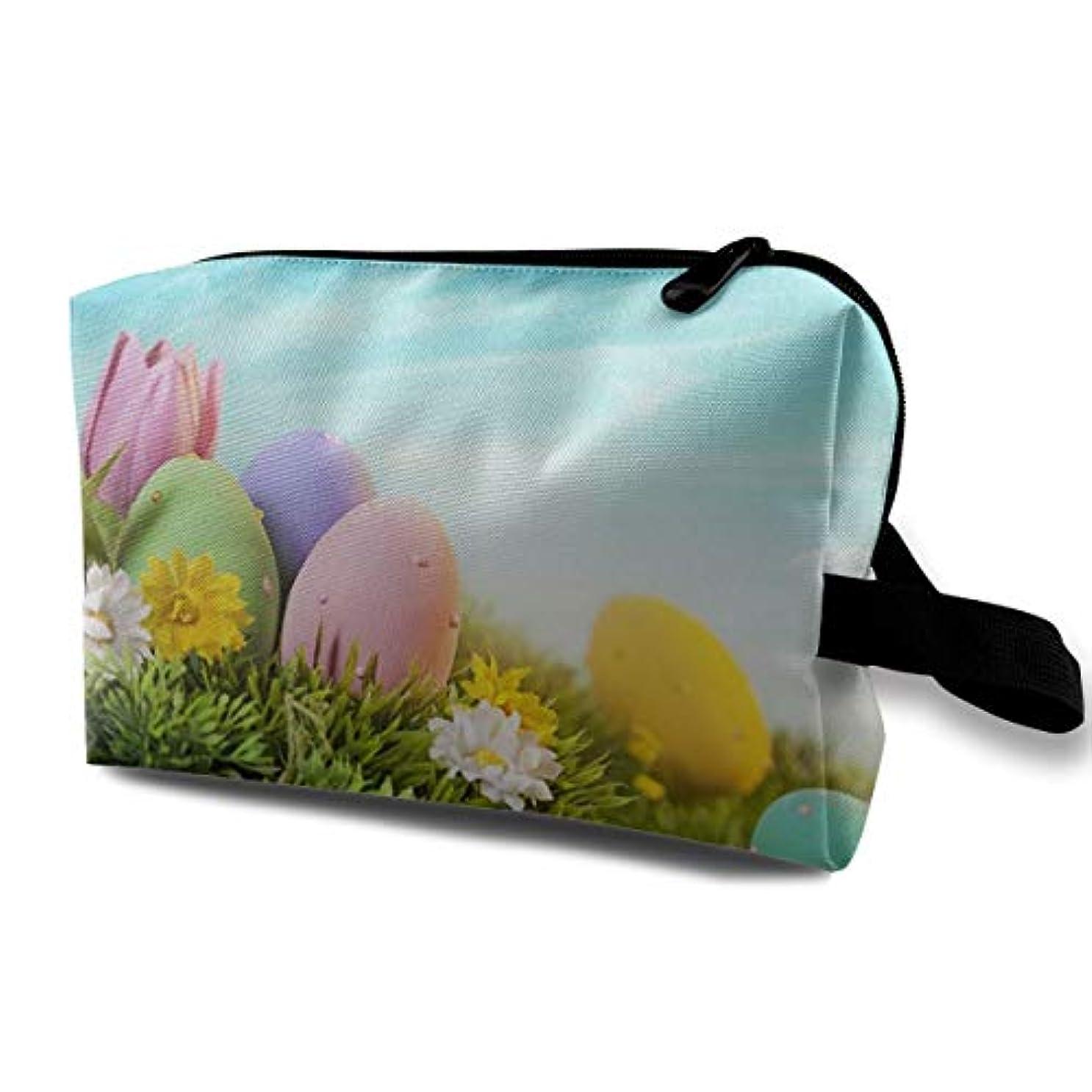 非難する小さいテレマコスGreen Grass Eggs Wrinkle 収納ポーチ 化粧ポーチ 大容量 軽量 耐久性 ハンドル付持ち運び便利。入れ 自宅?出張?旅行?アウトドア撮影などに対応。メンズ レディース トラベルグッズ