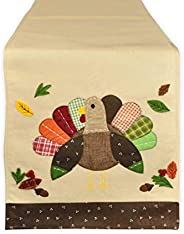 DII Thanksgiving Holiday Embroidered Table Runner 14 x 64, Turkey