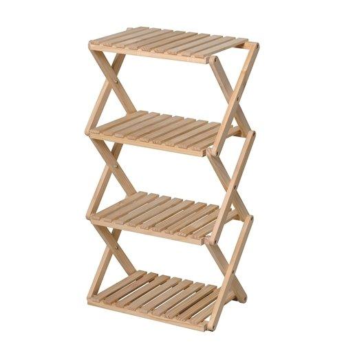 RoomClip商品情報 - コーナン オリジナル コーナンラック 折り畳み式木製ラック W460(4段) ナチュラル 4段(約幅46X奥行30X高さ86cm)