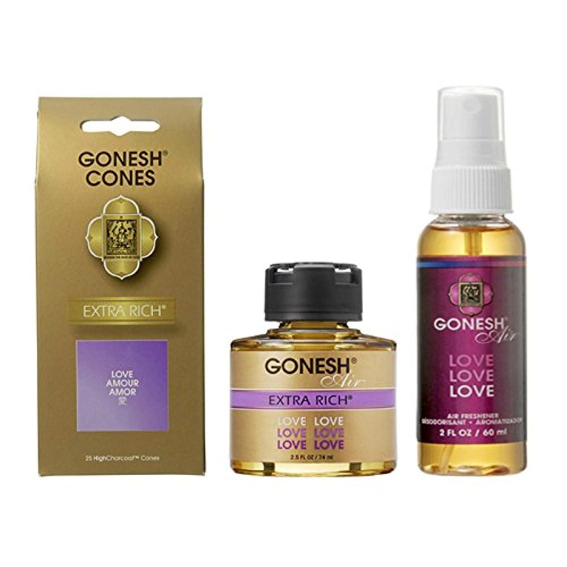 GONESH LOVE 3点セット(お香コーン?リキッドエアフレッシュナー?スプレーエアフレッシュナー)