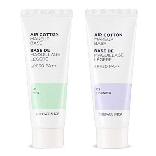 The Face Shop ザ・フェースショップ エアコットン・メーキャップベース 40ml (01 ミント1本 + 02 ラベンダー 1本)(AIR COTTON MAKE UP BASE 01 Mint 1p +02 Lavender 1p) [海外直送品]