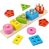 Toyssa 木製パズル 幼児 おもちゃ 形状 ソーター 就学前 幾何ブロック 積み重ねゲーム 形状 色認識 幾何学ブロック 子供用