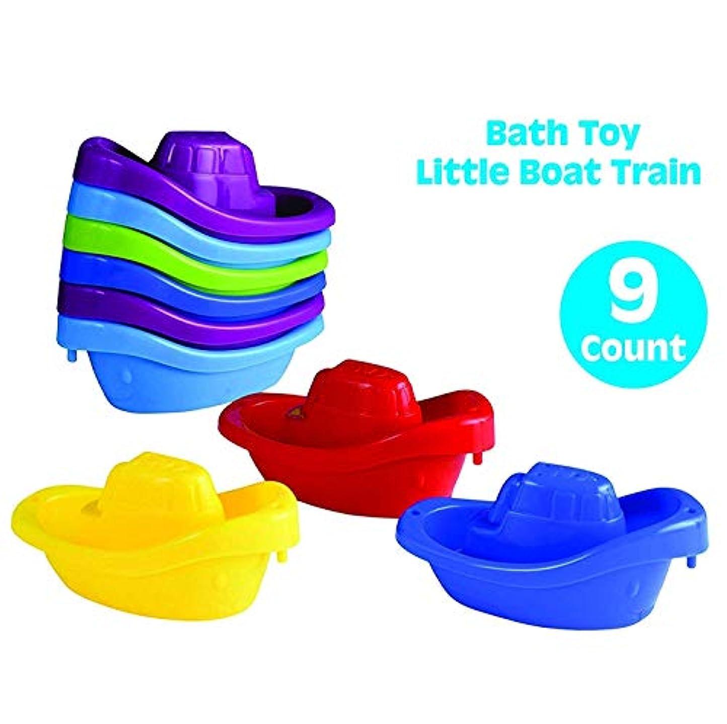 ヒステリックいいね解決playkidz Bathおもちゃ小さなボート列車9パックスタッカブルプラスチックKids Tugboats for Bathtub & More in 6色Ages 3 and Up