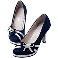 LaBiTi Women's Round Toe Super High Heel Platform Stiletto Slip On Pumps for Wedding Party Shoes