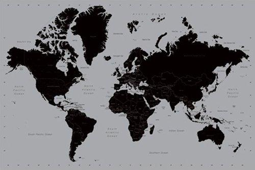 ポスター 世界地図/シルバー PP-31842