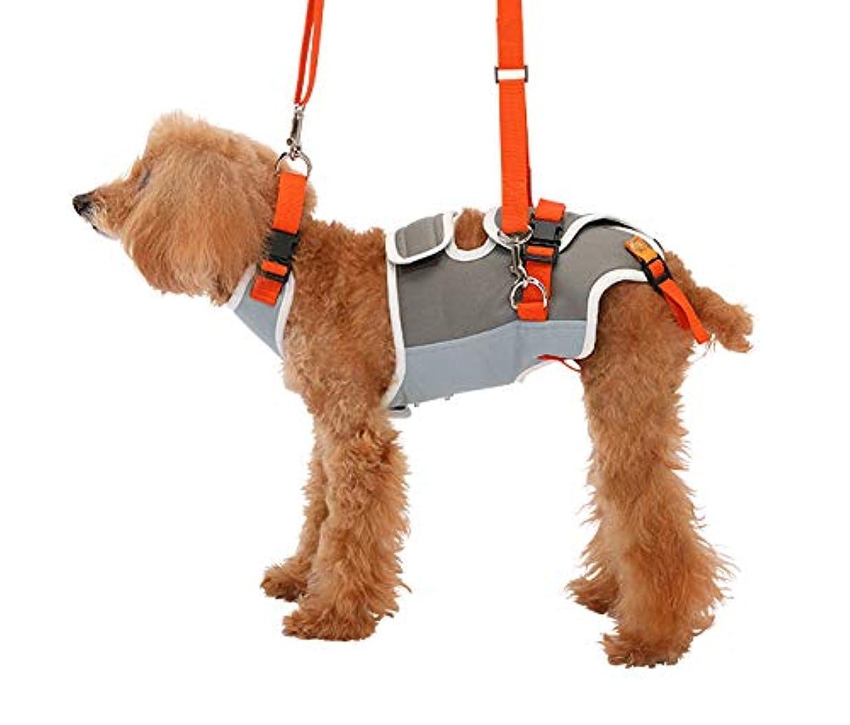 札入れ考えた半導体With(ウィズ) 歩行補助ハーネス LaLaWalk 小型犬?ダックス用 グレー×オレンジ S サイズ