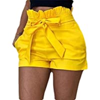 Women Retro Bowknot Tie Solid Shorts Summer High-Waisted Casual Shorts