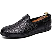 Happy-L Shoes, Retro Classic Driving Genuine Leather Loafer for Men Casual Penny Shoes Slip on Non-Slip Wear Resisting Embossed Collision Avoidance Toe