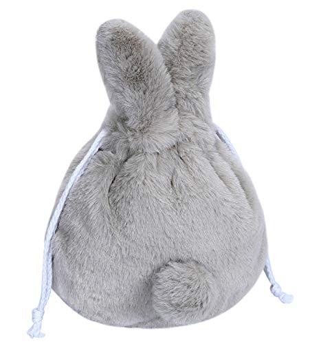 CARAMEL MILK コスメポーチ 化粧バッグ 化粧ポーチ もふもふ うさぎ ポーチ 巾着袋 化粧品 旅行 (グレー)
