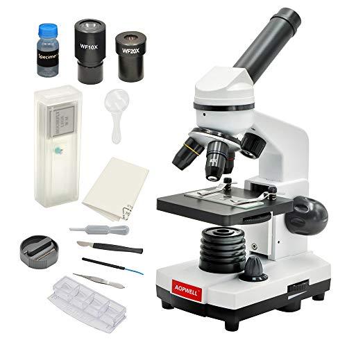 AOPWELL 顕微鏡80X-1600X - 学生用単眼顕微鏡 (顕微鏡1600x)