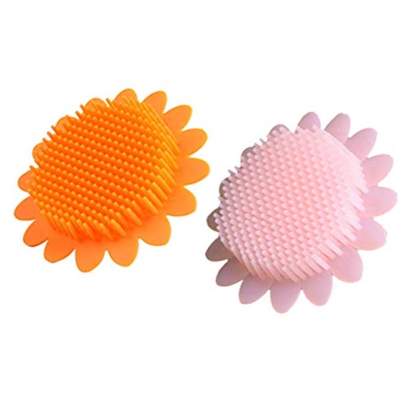 閃光繕う志すBeaupretty 2本の赤ちゃん風呂ブラシシリコーンボディブラシ頭皮マッサージブラシ赤ちゃんのためのシャンプーブラシ(オレンジ+ピンク)