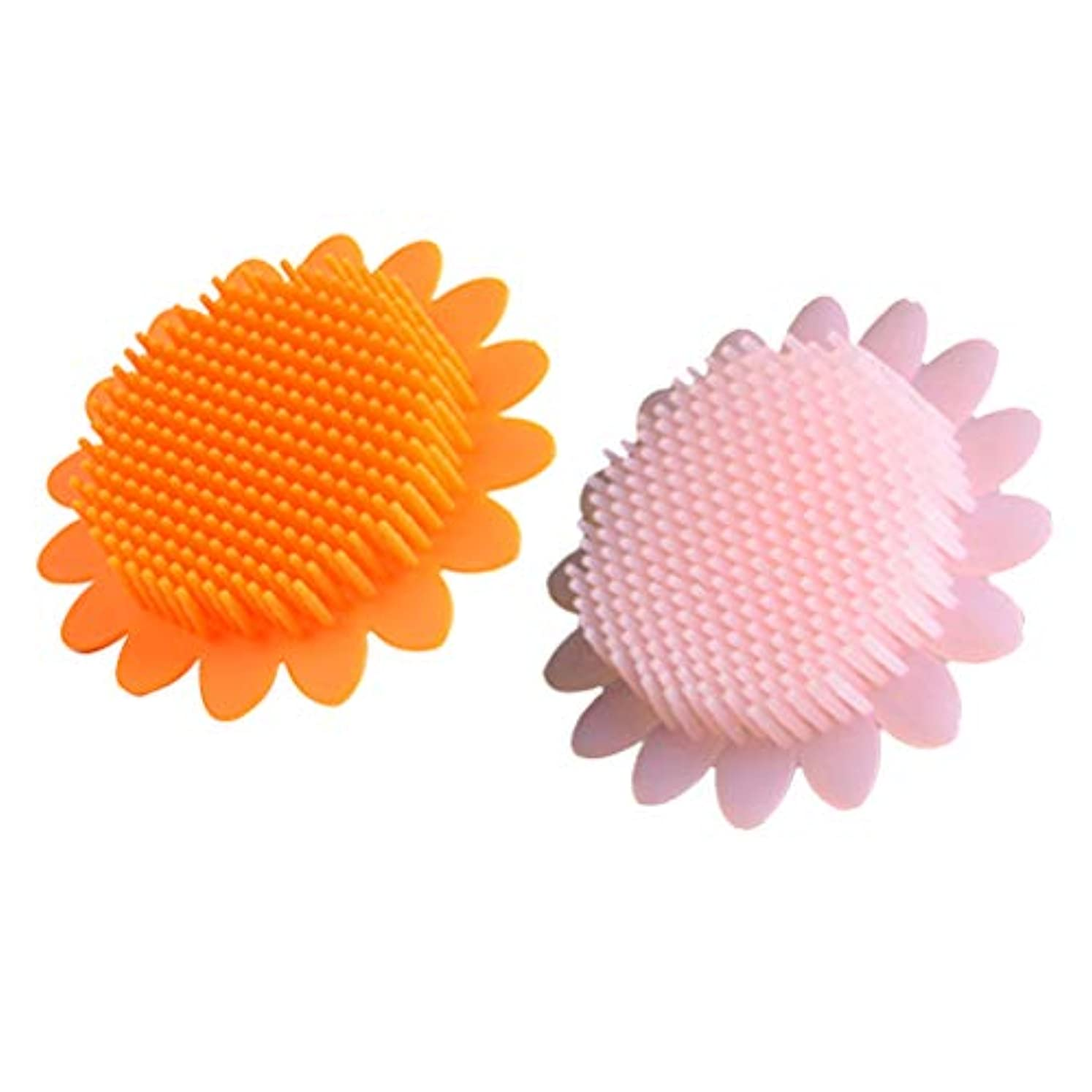 偽善者便利さ測るBeaupretty 2本の赤ちゃん風呂ブラシシリコーンボディブラシ頭皮マッサージブラシ赤ちゃんのためのシャンプーブラシ(オレンジ+ピンク)