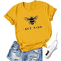Hubery Women Cute Graphic Print BEE Kind Tee Tops Short Sleeve Funny Shirt Blouse