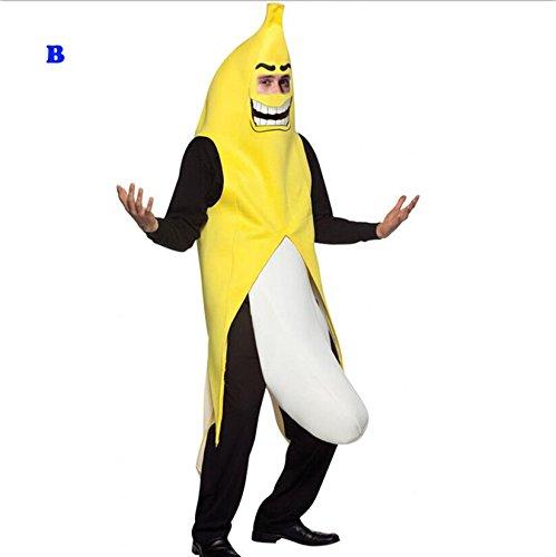 全身バナナ コスチューム 黄色バナナマン ハロウィン 仮装 衣装 変装グッズ 男女兼用 着ぐるみ コスプレ コスチューム 全身バナナ おもしろコスチューム 大人用 (B)