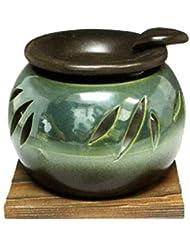 常滑焼?山房窯 カ40-10 茶香炉 杉板付 約φ11.3×8.4cm