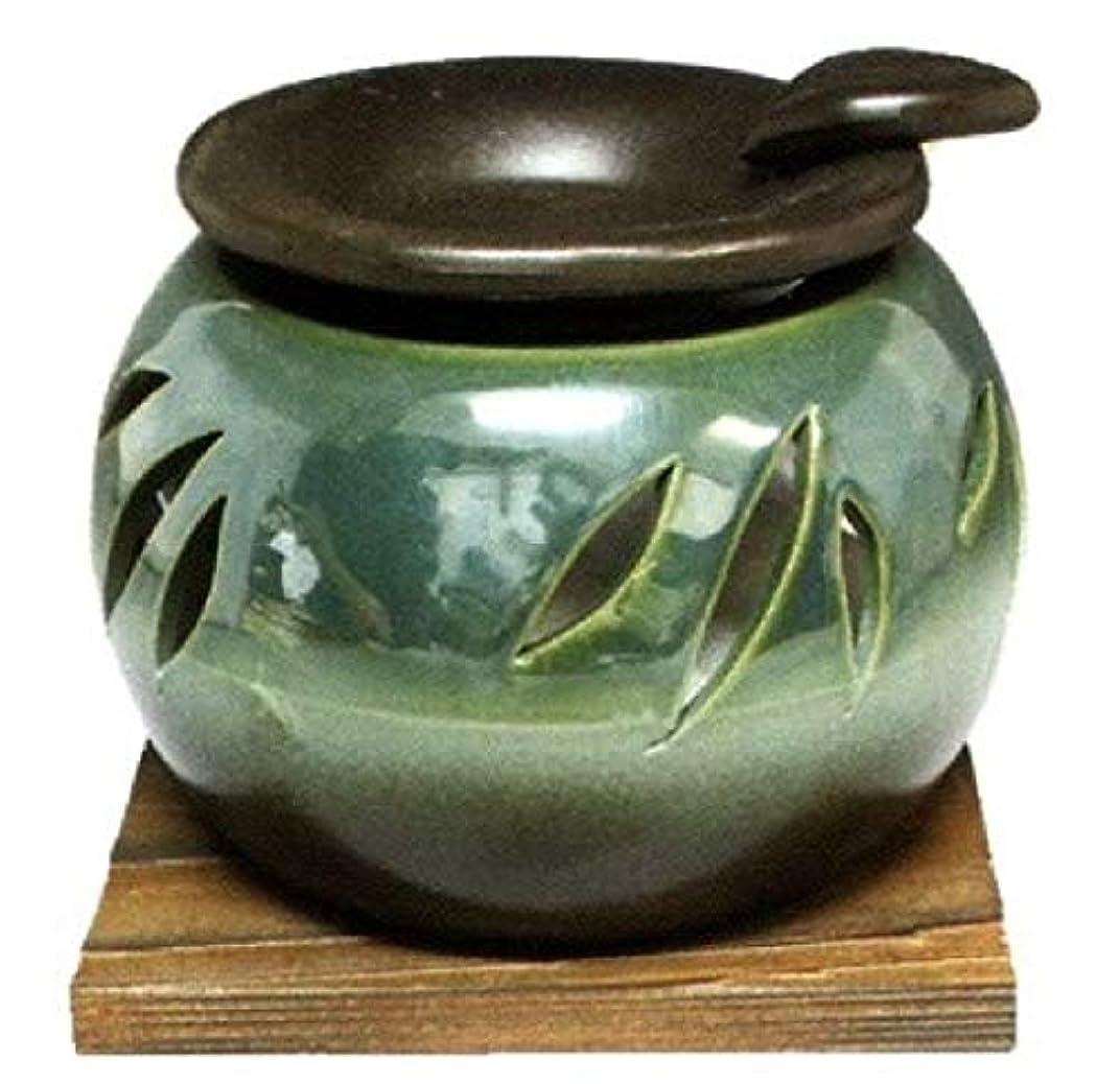 歩道塊数学的な常滑焼?山房窯 カ40-10 茶香炉 杉板付 約φ11.3×8.4cm