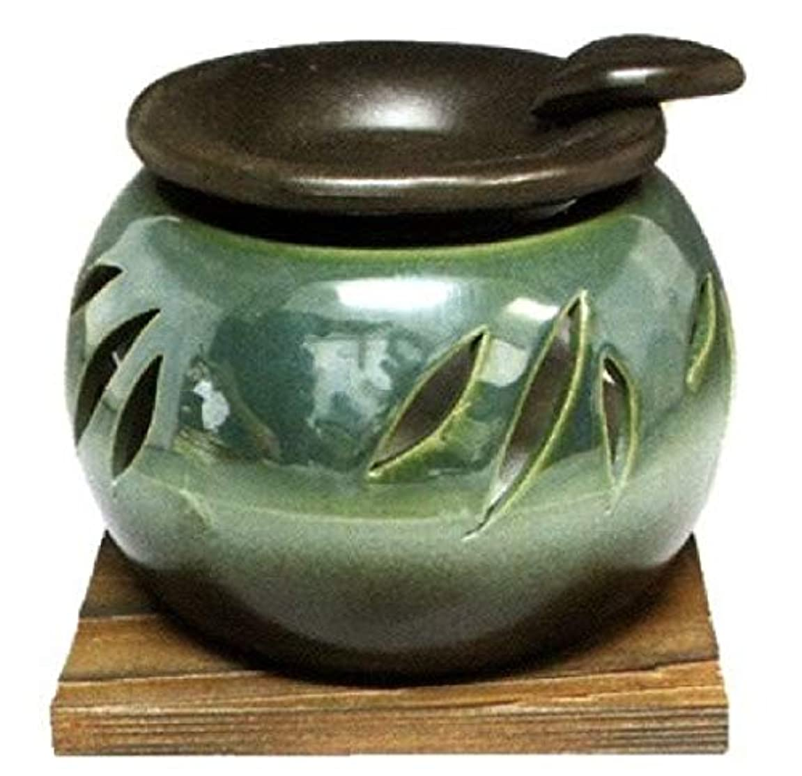 受信機混雑難しい常滑焼?山房窯 カ40-10 茶香炉 杉板付 約φ11.3×8.4cm