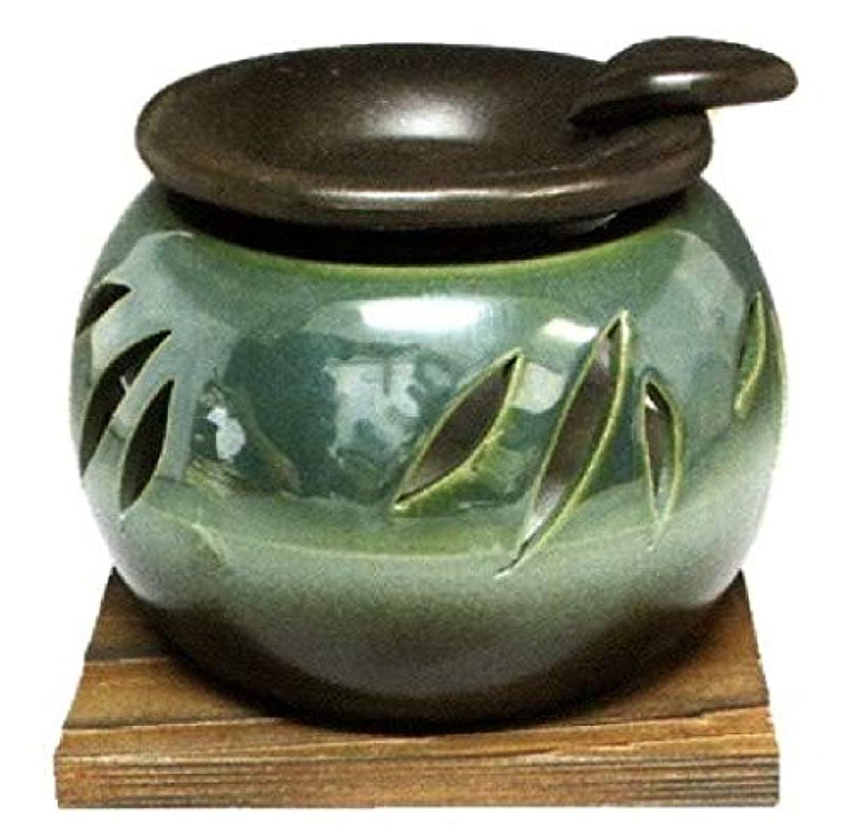 中止しますトリクル信号常滑焼?山房窯 カ40-10 茶香炉 杉板付 約φ11.3×8.4cm