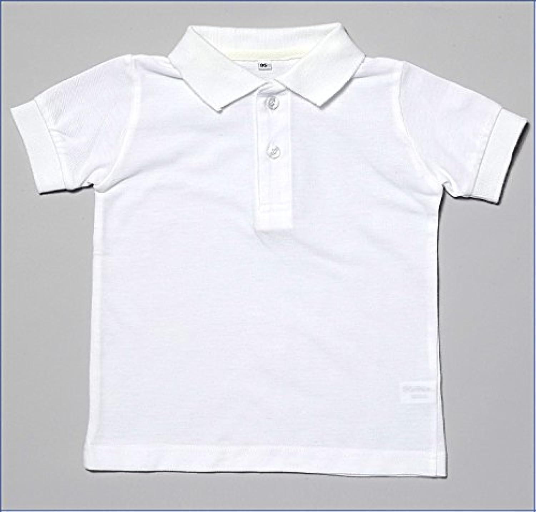 幼稚園受験用 半袖かのこポロシャツ【白】【90?95サイズ】お着替えしやすいストレッチ素材衿