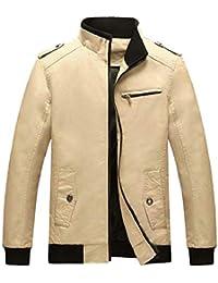 gawaga メンズカジュアルスリムスタンドカラージップアップライトジャケットコート