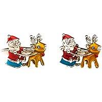 MRCUFF Santa Claus Christmas Sleigh Reindeer Pair Cufflinks in a Presentation Gift Box & Polishing Cloth