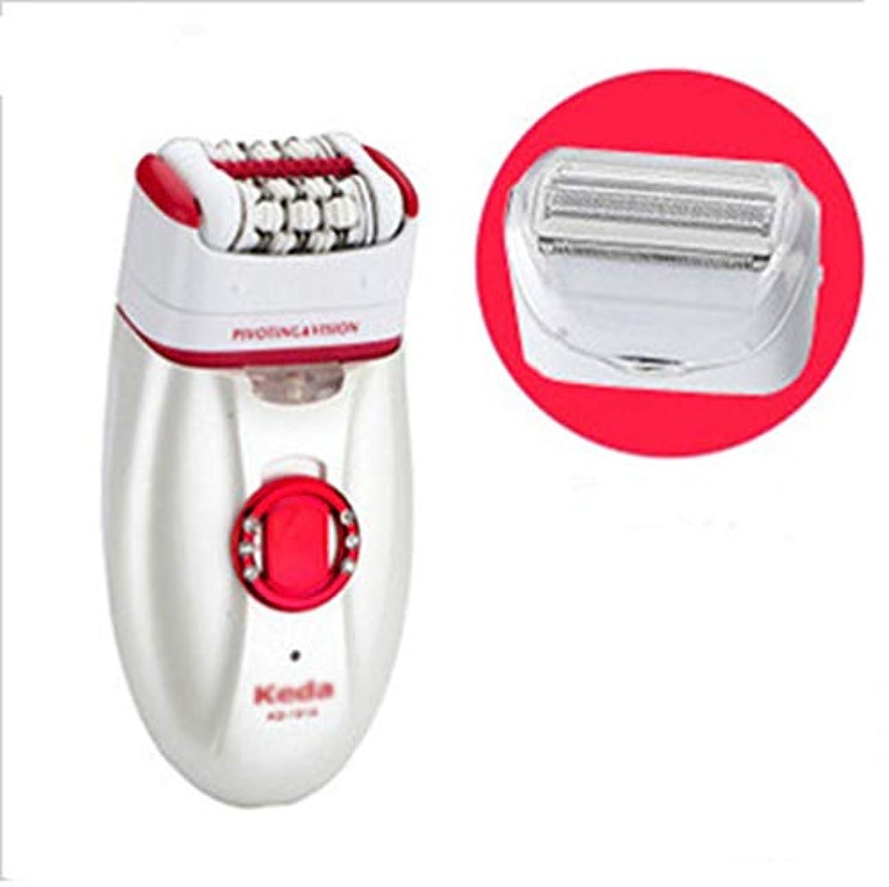 レディース脱毛器コードレス2で1電気脱毛脱毛器、充電式防水電気シェーバーインスタント毛トリマーリムーバー,Red
