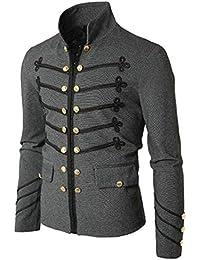 chenshiba-JP メンズボタンソリッドカラースタンドカラーロングスリーブカーディガンジャケットコート