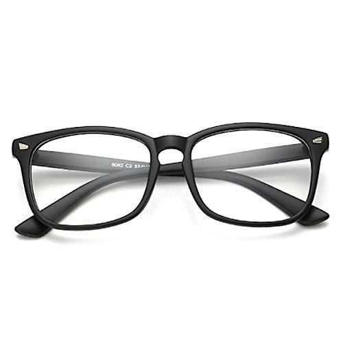 [FREESE] 超軽量 伊達メガネ ブルーライトカット ウェリントン 黒縁 ファッション伊達眼鏡 クロス&ケース(マット ブラック)