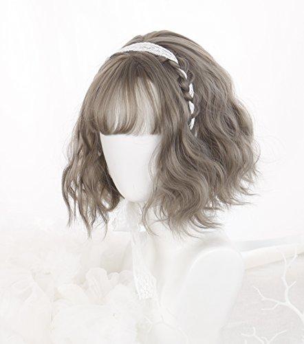 (インマン) INMAN フルウィッグ かつら ウィッグ ショート カール 巻き髪 自然 原宿 ロリータ 高品質 耐熱 (図鼠色)