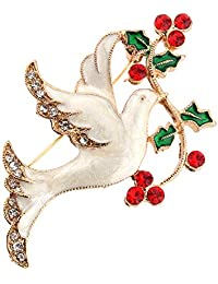 RATU Christmas Peace Dove Rhinestones Brooch Decorative Scarves Pin for Women(White)
