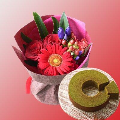 結婚記念日 金婚式 還暦 長寿のお祝い 京都 京寿楽庵 宇治抹茶バウム & 赤い花束 (SE)